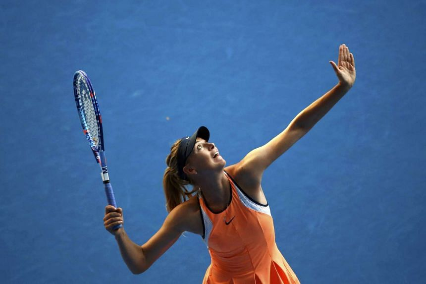 Russia's Maria Sharapova during her first round match against Japan's Nao Hibino at the Australian Open on Jan 18, 2016.