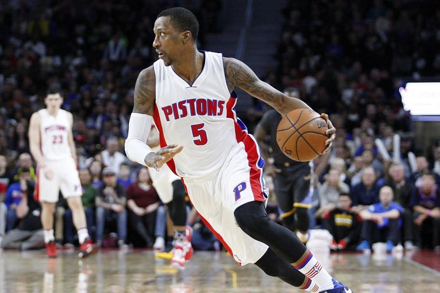 Detroit Pistons guard Kentavious Caldwell-Pope dribbles the ball up the court.