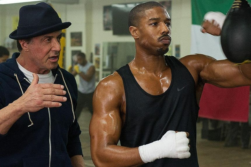 Michael B. Jordan (left) and Sylvester Stallone in Creed. The only nomination for the movie went to Stallone, a supporting actor.