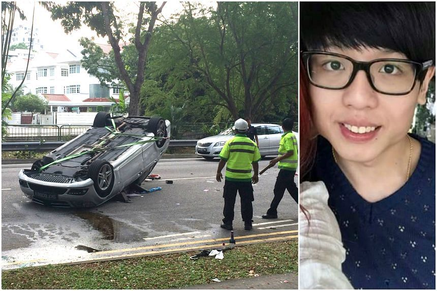 Mr Fabian Ong (right) was killed when his car hit a kerb, overturned and skidded along Bukit Timah Road.