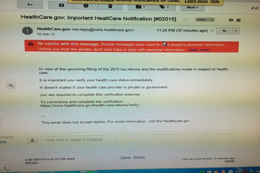 The e-mail asks recipients to click on a link to verify their healthcare status.