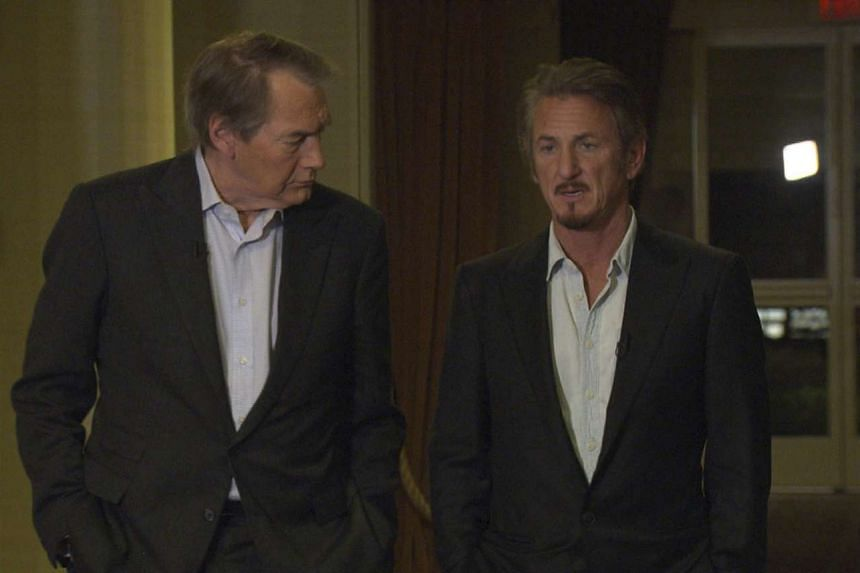 Charlie Rose (left) talking to Sean Penn (right) during the interview.