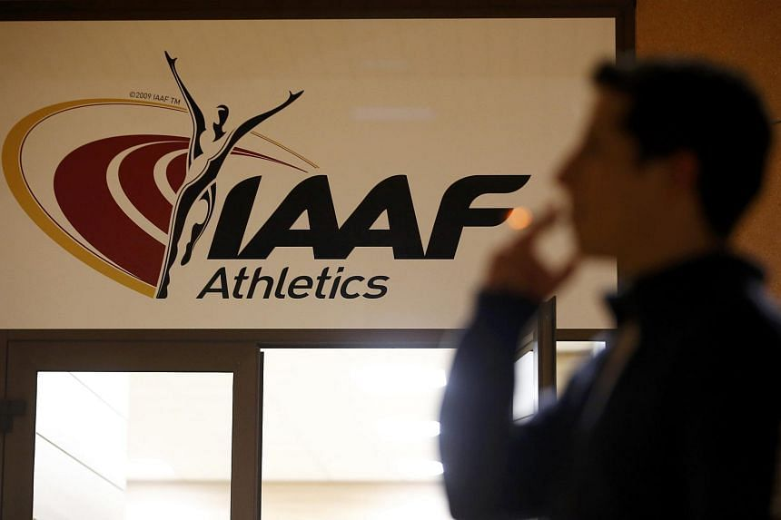 The logo at the the International Association of Athletics Federations (IAAF) headquarters in Monaco, Jan 14, 2016.