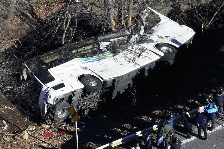View of the crashed bus in Karuizawa, Nagano Prefecture, central Japan, on Jan 15, 2016.