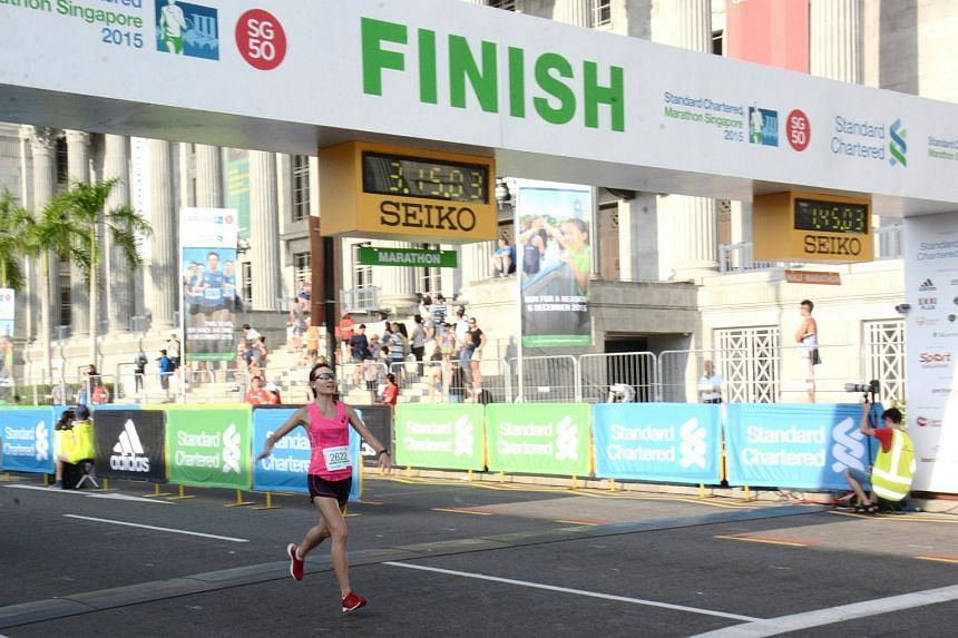Ms Neo Jie Shi at the Standard Chartered Marathon Singapore on Dec 6, 2015.