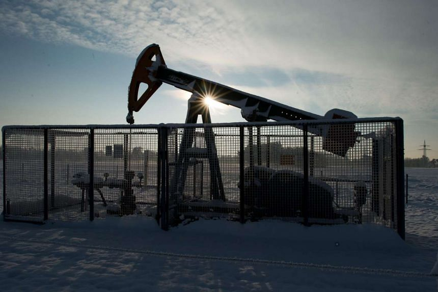 A production well used for oil extraction on a field near Braunschweig, Germany on Jan 18, 2016.