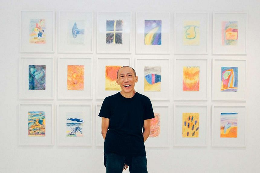 Performance artist Lee Wen at his second solo exhibition, Lee Wen: Songs Unsung