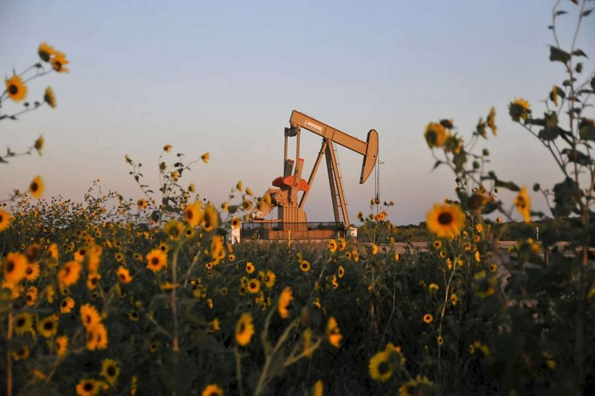 A pump jack operates at a well site leased by Devon Energy Production Company near Guthrie, Oklahoma in this Sept 15, 2015, file photograph.