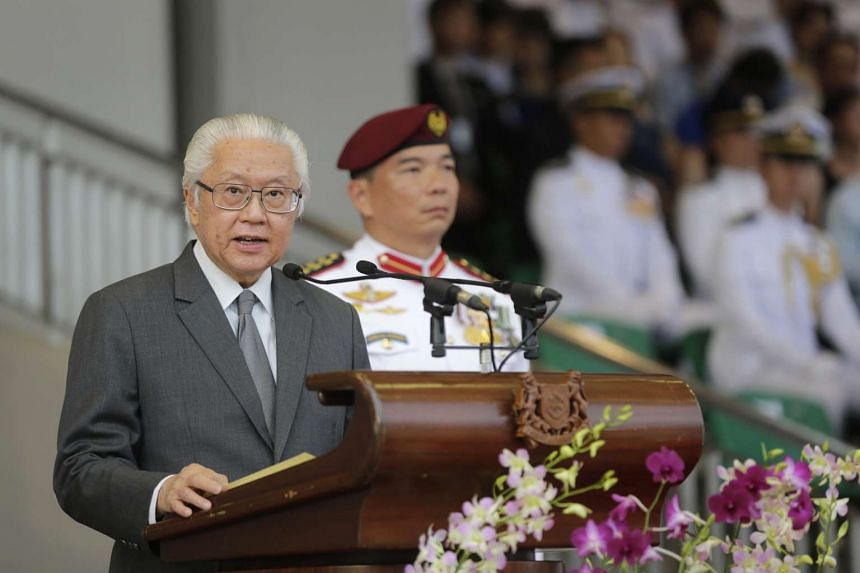 President Tony Tan Keng Yam gives a speech at the 99/15 Officer Cadet Course (OCC) Commissioning Parade on Jan 17, 2016 (Sun) at SAFTI Military Institute (MI).