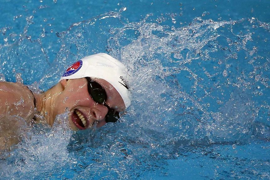 Katie Ledecky swims in the Women's 800 meter freestyle final during the Arena Pro Swim Series on Jan 17, 2016, in Austin, Texas.