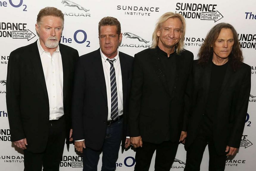 Members of the Eagles (left to right) Don Henley, Glenn Frey, Joe Walsh and Timothy B. Schmit attend the premiere of the film History of the Eagles Part One at Sundance London in this April 25, 2013, file photo.