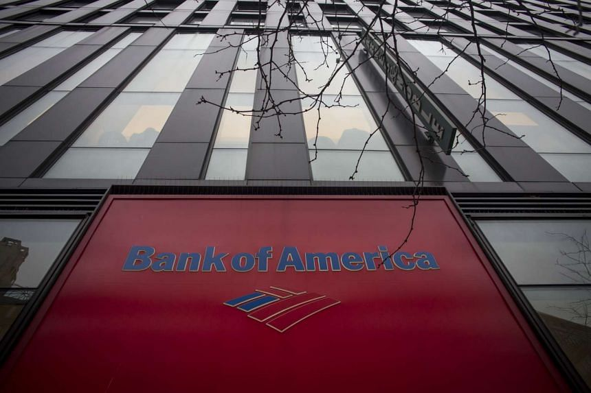 The Bank of America Corp. signage at its branch in New York.