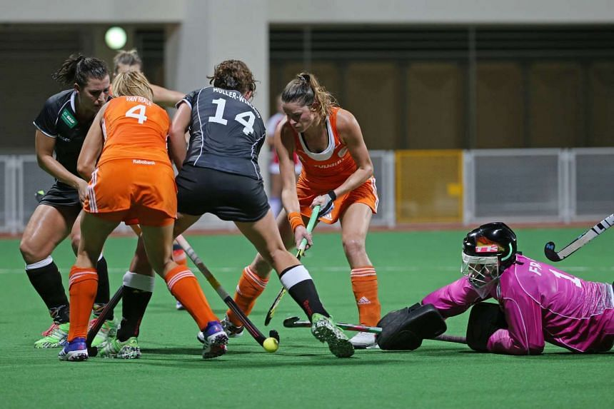 The Netherlands were held to a stalemate by Germany at Sengkang Hockey Stadium on Jan 19, 2016.