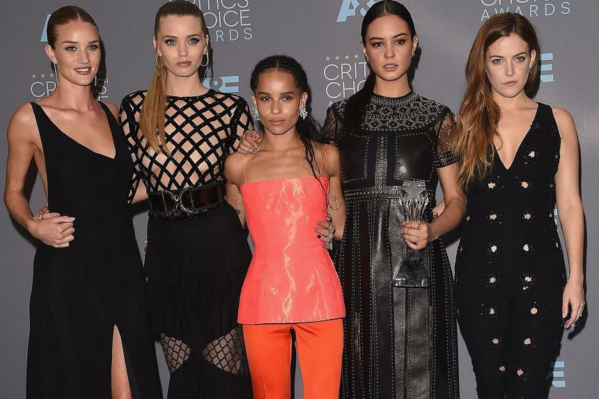 (From left) Actresses Rosie Huntington- Whiteley, Abbey Lee, Zoe Kravitz, Courtney Eaton and Riley Keough, who starred in Mad Max: Fury Road, helped pick up one of nine awards for the film at the 21st Critics' Choice Awards in Santa Monica, Californi