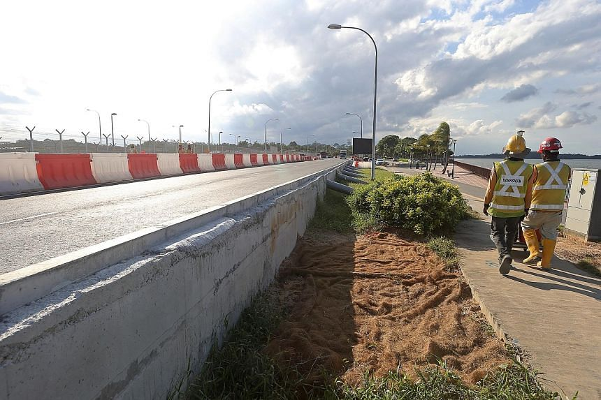 The LTA's road-raising project will elevate the 1km, two-lane dual- carriage Nicoll Drive, which hugs the eastern shoreline next to Changi Beach, by up to 0.8m. The project is expected to be completed by the middle of this year.