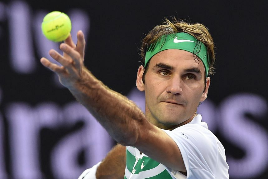 Switzerland's Roger Federer serving during his match against Georgia's Nikoloz Basilashvili. He lost only five games.