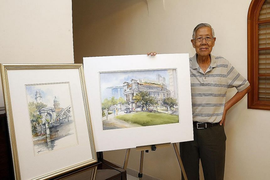 Singaporean artist Tan Gay Beng and his work titled Tokyo and his father Tan Leong Kheng (above) with his watercolour work.