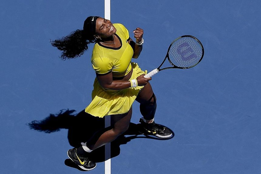 """Serena Williams celebrates a point in her 6-4, 7-5 win over Camila Giorgi of Italy, for which she gave a herself an """"A"""" for effort. The world No. 1 was composed but not her usual clinical self during the draining workout, her first competitive match"""