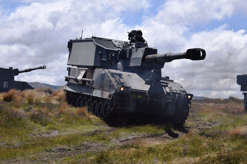 A Singapore Self-Propelled Howitzer Primus participating in the live-firing exercise at Waiouru Training Area, New Zealand.