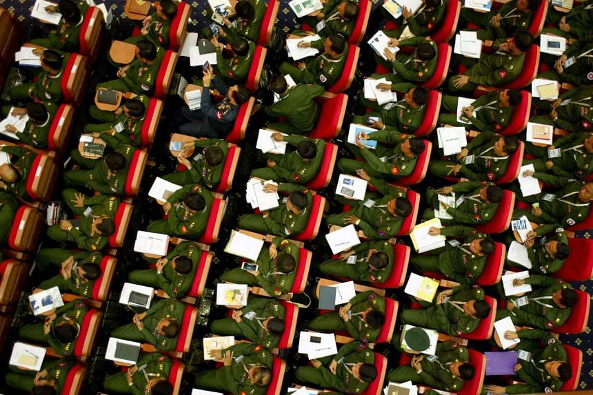 Myanmar military officers attend the opening ceremony of the Union Peace Conference in Naypyitaw, Myanmar, on Jan 12, 2016.