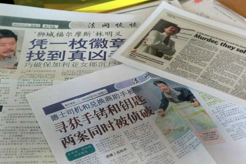 The newspaper articles about Mr Lim that his daughter collected for him.