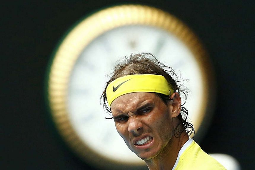 Rafael Nadal reacts during his first round match against Spain's Fernando Verdasco at the Australian Open.