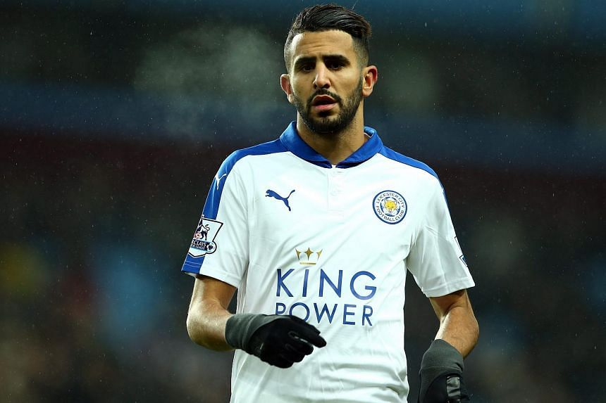 Leicester City's Riyad Mahrez in action during the English Premier League football match between Aston Villa and Leicester City.
