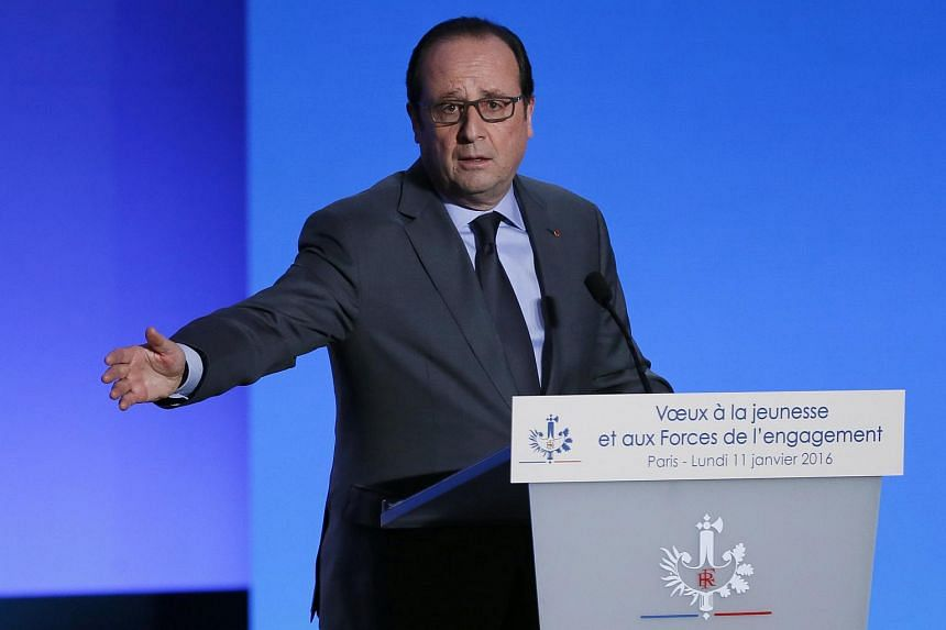 French President Francois Hollande delivering a speech during his New Year's greeting on Jan 11, 2016.