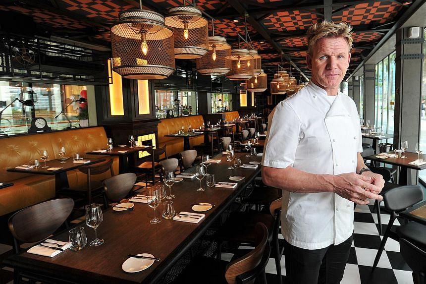 Chef Gordon Ramsay in his Bread Street Kitchen at Marina Bay Sands.