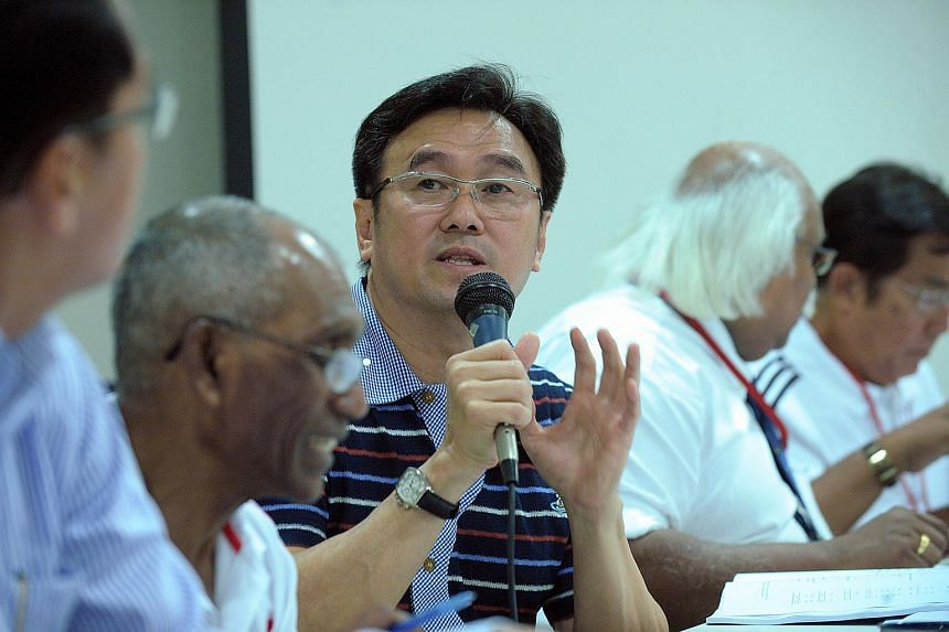 Singapore Athletic Association (SAA) president Tang Weng Fei (centre) at SAA's annual general meeting at the Singapore Sports School on June 29, 2011.