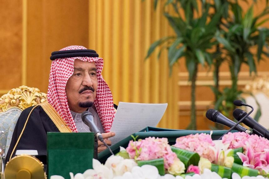 Saudi Arabia's King Salman heading the Council of Ministers meeting.