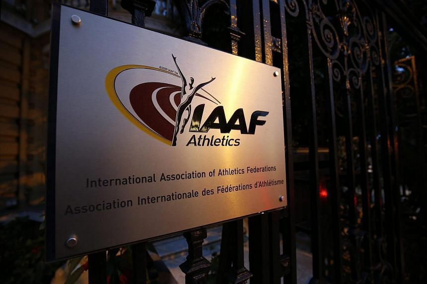A plaque outside the The International Association of Athletics Federations (IAAF) headquarters in Monaco.