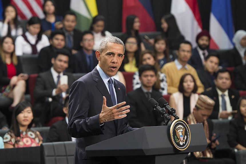 Mr Barack Obama speaks during a town hall with Young Southeast Asia Leaders Initiative (YSEALI) at Taylor's University in Kuala Lumpur.