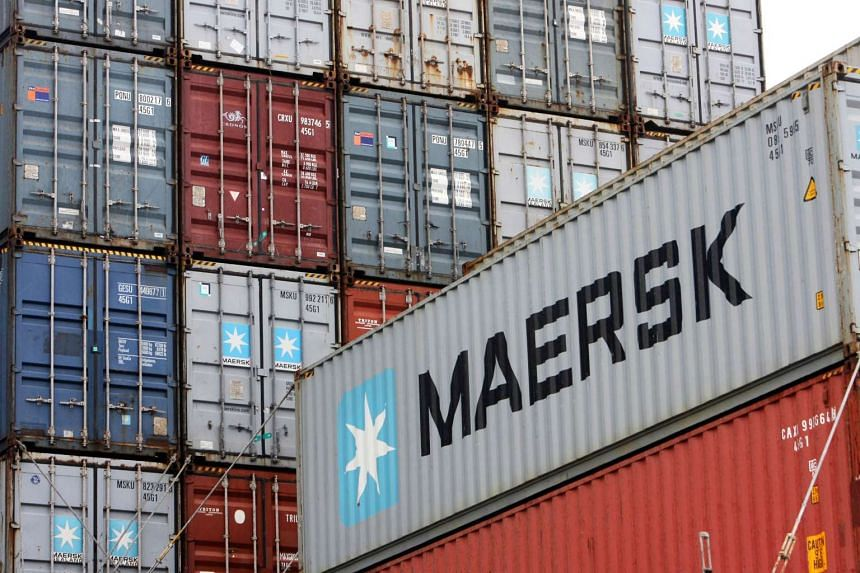 Maersk containers stored at the North port terminal in Bremerhaven, northern Germany.