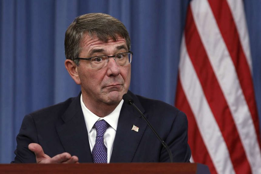 US Defence Secretary Ash Carter speaking at a news conference in Washington on Dec 11, 2015.