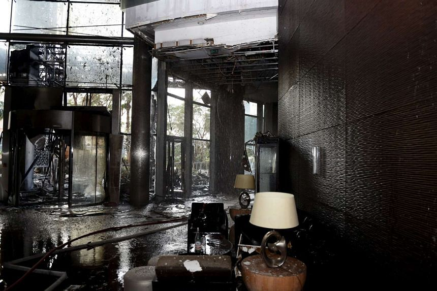 The damage at the interior of Address Downtown Dubai hotel and residential block.