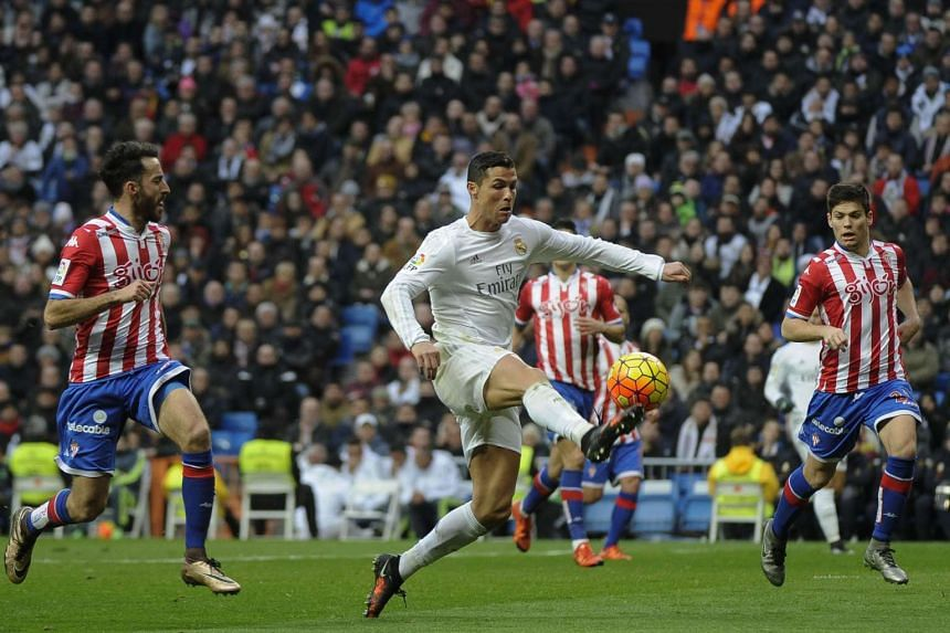 Real Madrid's Cristiano Ronaldo playing in a Spanish league football match on Jan 17, 2016.