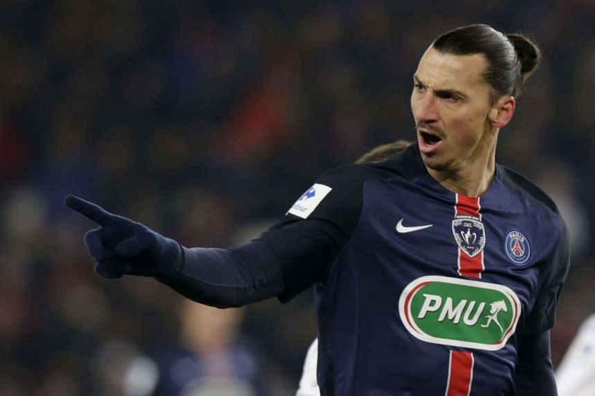 Zlatan Ibrahimovic reacts during the French Cup football match between Paris Saint-Germain and Toulouse.