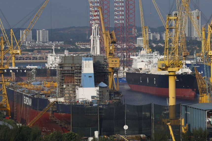 Ships undergo repairs and upgrades at Sembcorp Marine Ltd's Admiralty Yard in Singapore on Jan 13, 2016.