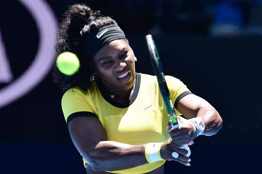 Serena Williams in action against Hsieh Su-wei of Taiwan during their second round match on day three of the Australian Open.