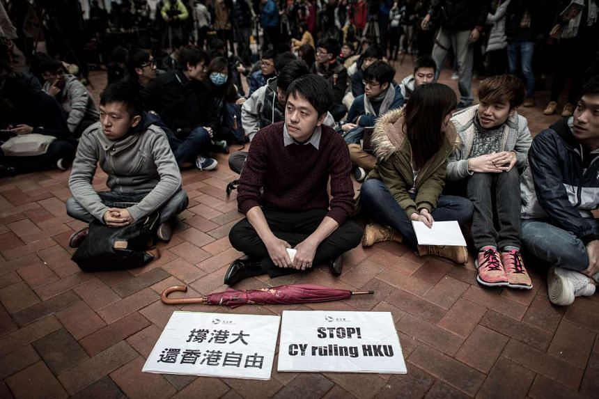 Students take part in a protest at Hong Kong University on Jan 20, 2016.