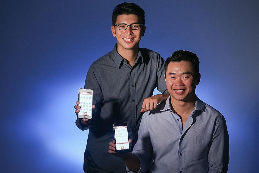 Mr Ng (standing) and Mr Tan are co-founders of Lightem Up Technology, the start-up behind Queri. The app has been downloaded about 1,000 times sinceits debutlast month.
