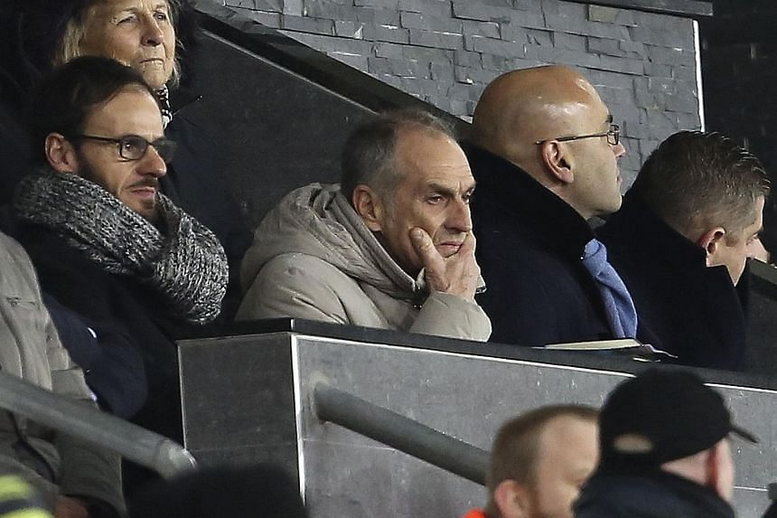 New head coach Francesco Guidolin (centre) watching Swansea beat Watford on Monday. The 60-year-old will work alongside interim manager Alan Curtis, though the Italian will have the final say on team selection.