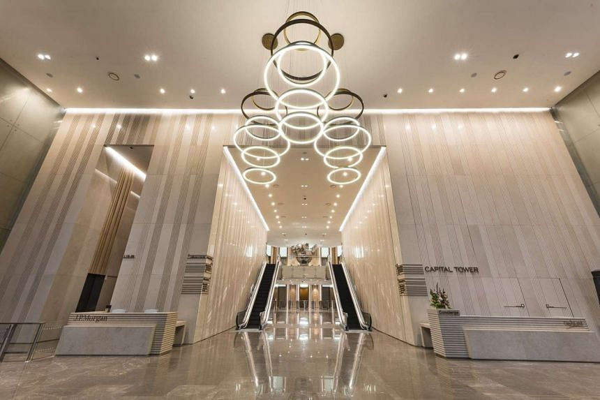 Capital Tower's main lobby after a $35 million asset enhancement was completed in December 2015.