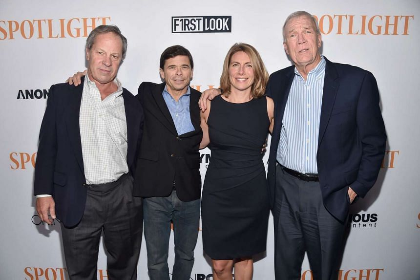 Journalists Ben Bradlee, Jr., Michael Rezendes, Sacha Pfeiffer and Walter Robinson attend a special screening of Spotlight on No 3, 2015 in Los Angeles.
