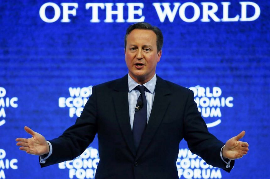 """British Prime Minister David Cameron at the """"Britain in the World"""" session of the World Economic Forum in Davos."""