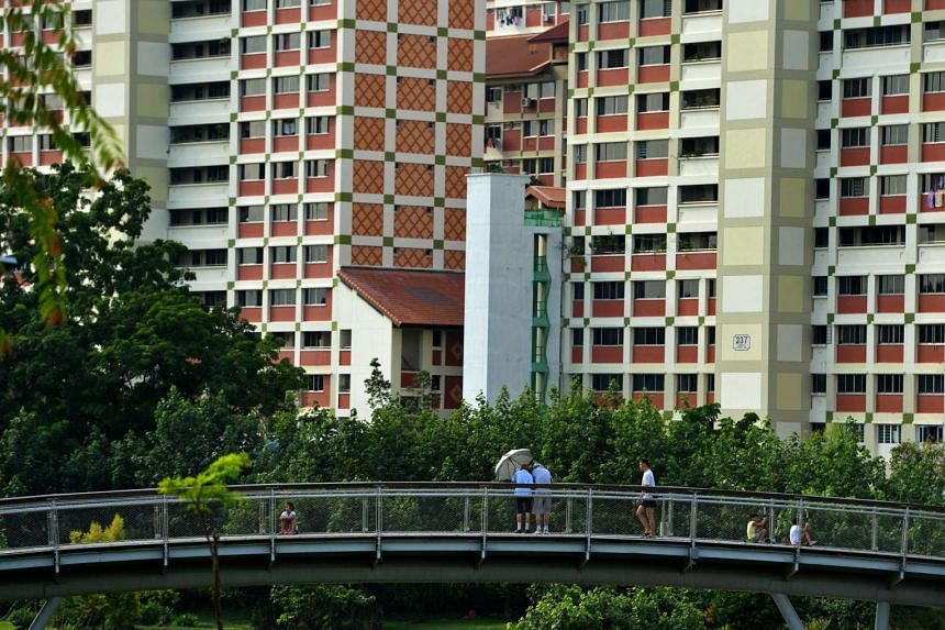 The young and elderly strolling along a bridge in Bishan Park, surrounded by HDB flats.