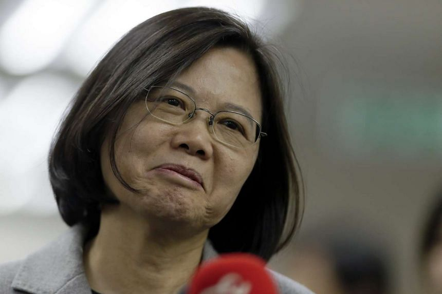 Taiwan opposition leader and president-elect Tsai Ing-wen gestures during an interview before their meeting for parliament reform in Taipei, Taiwan, Jan 20, 2016.