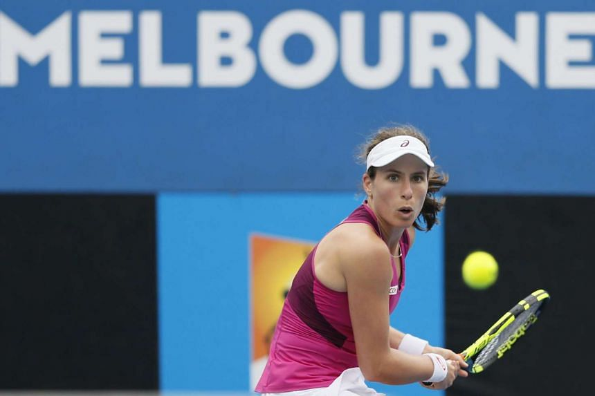 Johanna Konta in action against Zheng Saisai during their second round match at the Australian Open.