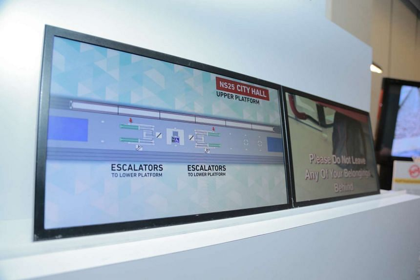 The new SMRT train display screen showing station information.